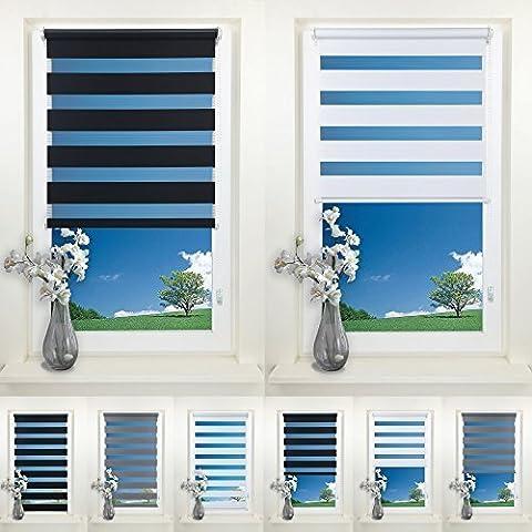 Rapid Teck® Duo Rollo Doppelrollo Weiß 70cm x 150cm ohne Bohren Klemmfix Seitenzugrollo Kettenzugrollo Vario