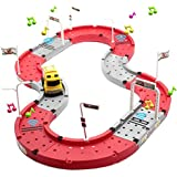 Lydaz Car Race Track Set Music Toy With Intelligent Truck DIY Assembly For Kids Boys Girls 41 Pcs