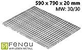 Fenau   Gitterrost/Baunorm-Rost Maße: 590 x 790 x 25 mm - MW: 30 mm / 30 mm (Vollbad-Feuerverzinkt) (Passend für Zarge: Fenau 600 x 800 x 28 mm) Industrie-Norm-Rost für Lichtschacht