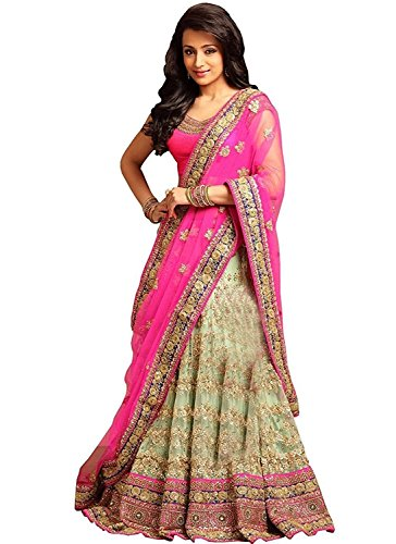 Granthi Creation Women's Pink Color Embroidery And Net Semi-Stitched Lehenga