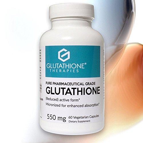 Therapie 60 Kapseln (Glutathione Therapies - Pure 550 mg Glutathion Haut Gesundheit und erhellen, Entgiftung, Super Antioxidantien, 60 vegetarische Kapseln)