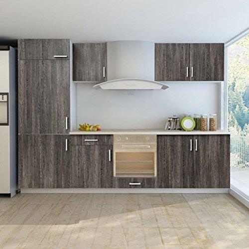 Lingjiushopping armadietto cucina aspetto wenge con unità frigorifero 7 pz specifiche armadietti: pensili da cucina