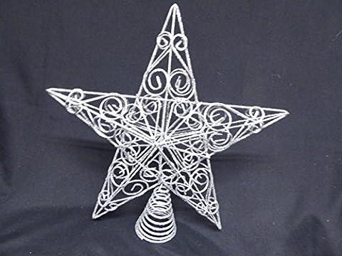 Weihnachtsschmuck–30cm groß silber Glitzer Star wirbelt Christbaumspitze