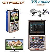 """GT MEDIA V8 Sat Finder Meter Localizador de señal de satélites Digital Buscador de Satélite Medidor de Campo HDTV DVB-S/S2/S2X, 3.5"""" LCD Batería 3000mAh Incorporada"""