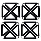 Pinacis Erweiterbar Silikon Untersetzer Matten für heiße Gerichte Verstellbar klappbar Edelstahl Topfuntersetzer Hot Pot Halter Topflappen Pads hitzebeständig (Schwarz, 4 Stück)