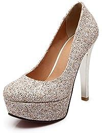 Moda con tacones muy altos/Zapatos de cabeza/ finos mujeres de Lentejuela y zapatos de novia blanco oro/Zapatos de moda