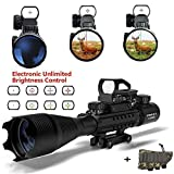 UMsky Gewehrzielfernrohre C4-16 x 50 Luftgewehr Scopes Red & Green Mil-Dot Beleuchtete Range Finder Reticle und Multi Optical Coated holographische optische Sichtung Optik Jagd Luft Zielfernrohr