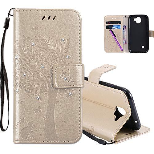 COTDINFOR LG K3 2017 Hülle für Mädchen Elegant Retro Premium PU Lederhülle Handy Tasche mit Magnet Standfunktion Schutz Etui für LG K3 2017 Gold Wishing Tree with Diamond KT.
