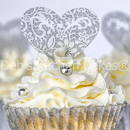 Edible Wafer Stand Up Filigree Hearts - Silver and White Vintage Lace Wedding Cupcake Decorations - Heart Cake Toppers - Wedding Engagement Anniversary x 12