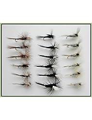 18parachute Sèche mouches de pêche truite, gris Duster, Adams et Moucheron Noir, Choix de Tailles disponibles