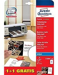 Avery Zweckform C32096-10P Premium Visitenkarten, Leinenstruktur, 260 g, 85 x 54 mm, 20 Blatt, 160 Stück, weiß