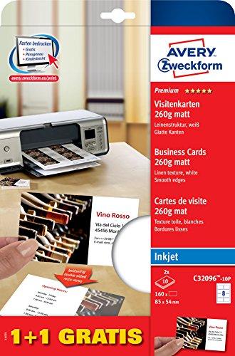 AVERY Zweckform C32096-10P Premium Visitenkarten, Leinenstruktur, 260 g, 85 x 54 mm, 20 Blatt, 160 Stück, weiß (Business Card Stock Papier)