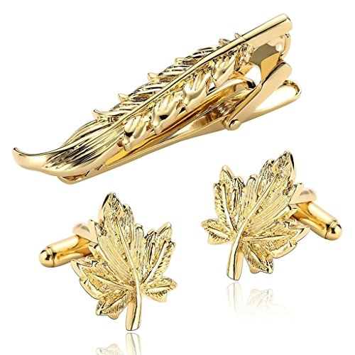Price comparison product image Epinki Men's Stainless Steel Gold Leaf Shape Classic Exquisite Cufflinks and Tie Clip Set