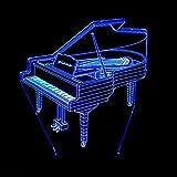 WHLXCQ Le Piccole Luci Notturne Creative Pianoforte Sette Colori Touch Usb Switch 3D Lampada Illusione Ottica Lampada Da Tavolo Decorazione Compleanno Regalo Di Natale Tutela Ambientale Lampada Da Scrivania.