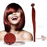 100 x 1g x 45cm Kupfer Nr. 350 glatte indische Remy 100% Echthaar U-tip Extensions / Echthaar-Strähnen / Haarverlängerung mit gratis Zubehör
