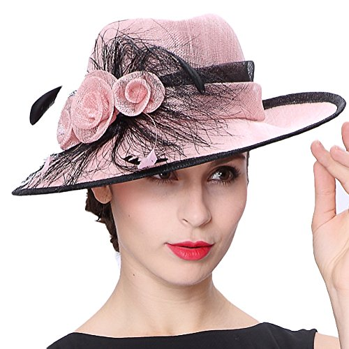 5b09aa5e3d2 Koola s hats Lady Pink 3 Layers Sinamay Wedding Hats Sun Hat Ascot Race  Derby Hat