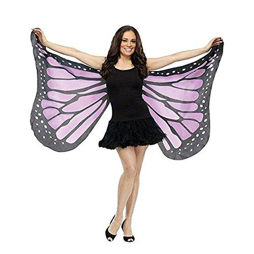 weiche Stoff Schmetterlingsflügel Fee Damen Nymph Pixie Kostüm Zubehör (Lila) (Violette Fee Kostüme)