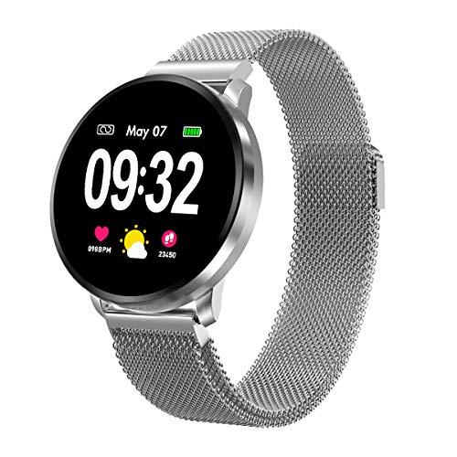 Smartwatch Fitness Armbanduhr Herren Damen mit Full-Touchscreen GOKOO Wasserdicht IP67 Fitness Tracker Aktivitätstracker Pulsuhren blutdruck uhr mit Kalorienzähler Schlafmonitor für Android IOS Silber