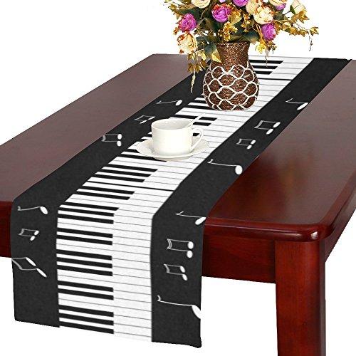 interestprint Piano Tastatur mit Musik Note lang Tischläufer 40,6x 182,9cm, schwarz und weiß Rechteck Tischläufer Baumwolle Leinen Stoff Tisch-Sets für Büro Küche Esszimmer Hochzeit Party Home Decor -
