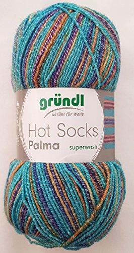 Gründl Wolle 100 Gramm Hot Socks Palma Superwash Sockenwolle aus 41% Baumwolle 39 % Wolle, 13% Polyamid, 7% Polyester (02 Bermuda Mix) (Bermuda 7)