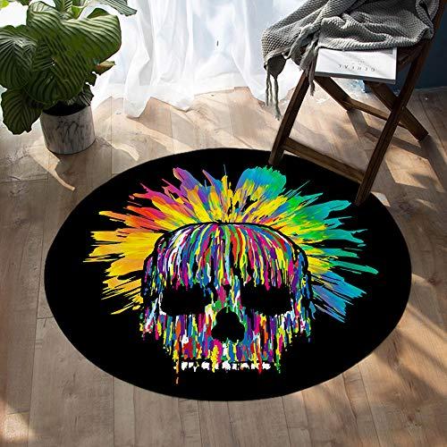 NIMTANZZ Runde Teppichfarbe Kunst Bodenmatte für Wohnzimmer Aquarell Teppich