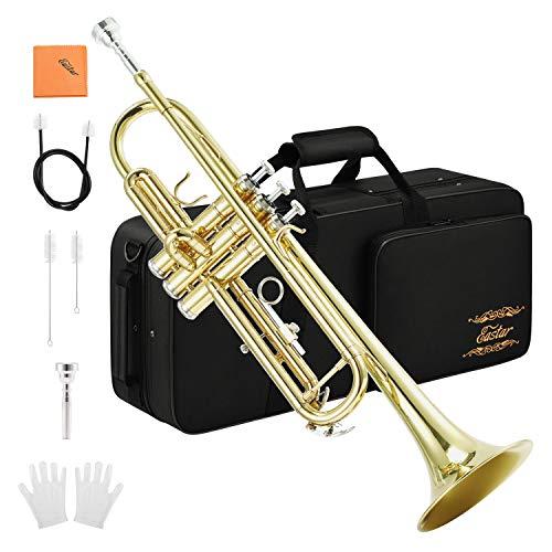 Eastar ETR-380 Standard Student Tromba Bb in ottone di colore oro Strumento a Fiato concustodia, bocchino, guanti bianchi