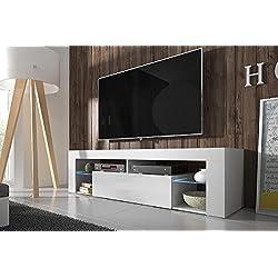 Hestia - Meuble TV (140 cm, Blanc Mat / Fronts Blanc Brillant avec l'éclairage LED)