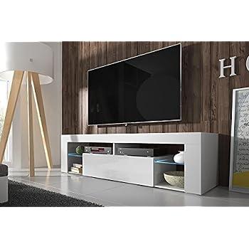 Mobile Porta Tv Basso Moderno.Hestia Mobile Porta Tv Mobiletto Porta Tv Moderno 140 Cm Bianco Opaco Pannello Frontale Bianco Lucido Con Luci Led