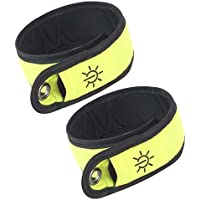 time to run High Visibility Reflective Running Cycling Walking LED Armband Pack Of Two