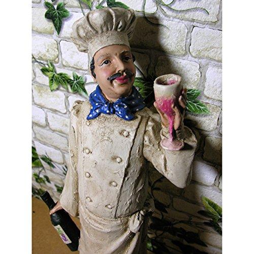 Statue Chefkoch 48x13x11cm mit Weinflasche Deko Figur Kochen Koch Küche Polystone