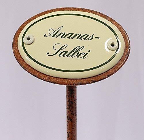 linoows Kräuterschild Kräuterstecker Emaille, Ananas Salbei, Erdspieß 25 cm