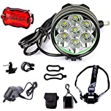 Xuheng Super Bright 7 X CREE XM-L T6 U2 12000Lumen 3 Modes White LED Bike Lamp Cree LED Headlight Solid Bicycle Light and Powerful Cree LED Bike Light Headlamp LED Lamp Flashlight Torch with 8.4V 8000mAh Battery Pack and UK Plug Charger Set For Outdoor Hiking, Riding, Camping and Other Activites