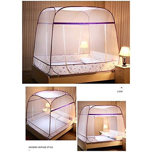 JHDUID Princess Mosquito Net - Betthimmel Pop Up Faltbare Doppeltür Einfache Einrichtung mit Anti-Mückenstichen von unten,Purple,1.2mbed -