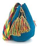 Wayuu Mochila, Bolsos Colombianos Artesanales Lisos, tanto para mujer como para hombre. (Azul)
