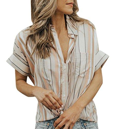 Huihong Damen Sommer Revers Shirt Colorblock Gestreiften T Shirt Kurzarm V Ausschnitt Tops Mode Mädchen Oberteile Bluse (L, Multicolor) - Colorblock Tunika Pullover