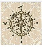 Abakuhaus Duschvorhang, Vintage Schiff Rad Antike Segelboot Navigation Werkzeug Monochromen Deco Druck, Wasser und Blickdicht aus Stoff mit 12 Ringen Schimmel Resistent, 175 X 200 cm