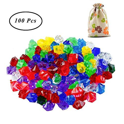 SUNSHINETEK 100 Stücke Acryl Diamanten Kinder Piraten Gefälschte Schmuck Spielzeug Spielen Schatz mit Kordelzug Geschenktüte für Party Favor