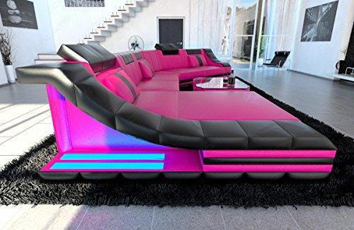 Mega Designer Leder Wohnlandschaft TURINO CL XL-Form pink-schwarz