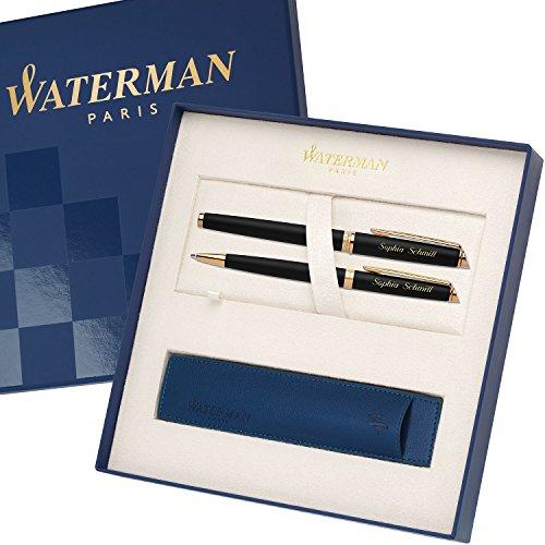 WATERMAN Schreibset HEMISPHERE Essential Schwarz matt G.C. mit persönlicher Laser-Gravur Füllfederhalter und Kugelschreiber im großen Geschenk-Etui