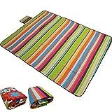 PROHEIM Picknickdecke Fleece Picknick Decke mit Wasserabweisender Unterseite aufrollbar Stranddecke mit Tragegriff - Muster und Größe wählbar, Maße:200 x 200 cm, Farbe:Streifenmuster