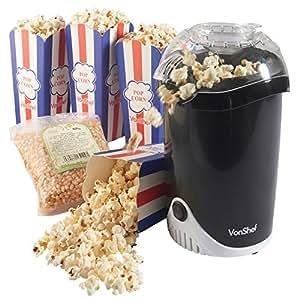 VonShef Fat-Free Hot Air Popcorn Maker 500g Popcorn Kernels + 4 Popcorn Boxes Included