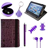 TabTek Alcatel Pixi 4 (7-Inch) Tablet Cover - Android - Fun Graffiti Style Case for Children Kids Case, Purple Pack