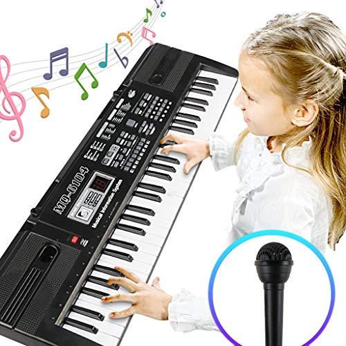 Enfants Piano Clavier, Piano jouet 61 Touches Enfant Synthé Clavier Instrument de Musique Électronique Portable avec Microphone pour les Enfants Cadeau, Idéal pour les enfants et les Débutants, Fonction d'apprentissage Compl