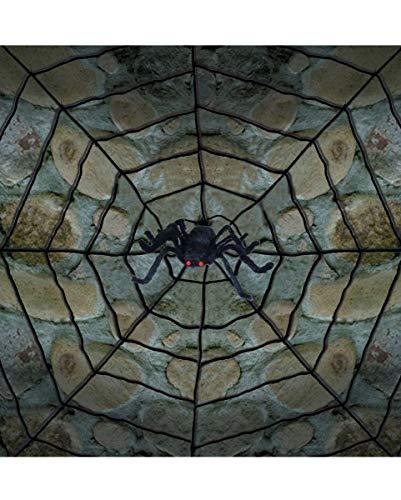 Horror-Shop Riesen Spinnennetz mit ekliger Spinne - 300 cm ()