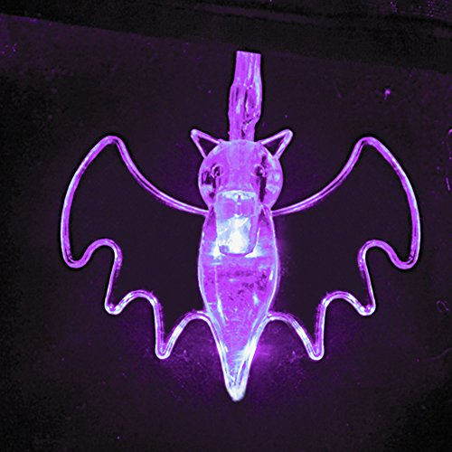 ITART Halloween Dekorationen lila Fledermaus Lichterketten Batteriebetriebene Set von 20 dekorative Seil Licht für Party Room ()