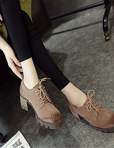 ZQ Scarpe Donna - Stringate - Casual - Punta arrotondata - Quadrato - Finta pelle - Marrone / Beige , brown-us8 / eu39 / uk6 / cn39 , brown-us8 / eu39 / uk6 / cn39 beige-us8 / eu39 / uk6 / cn39