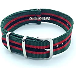 AccessoriesBySej ® TM - G10 NATO MOD NYLON WATCH STRAP - 35 Different Styles & Sizes - (22MM MILITARY GREEN/RED/BLACK 5S) - Presented with a FREE Luxurious AccessoriesBySej ® TM Velvet Gift Pouch/Bag