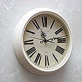 Fantasie Römische Ziffern Wanduhr Runde Nordische Uhr Durchmesser 39.5cm überdimensionale Zifferblatt Milchig Weiß Wecker Zimmer Wohnzimmer Schlafzimmer Wohnaccessoires Dekoration