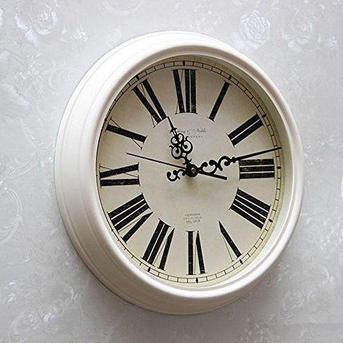 Fantasie Römische Ziffern Wanduhr Runde Nordische Uhr Durchmesser 39.5cm überdimensionale Zifferblatt Milchig Weiß Wecker Zimmer Wohnzimmer Schlafzimmer Wohnaccessoires Dekoration (Zimmer-wecker)