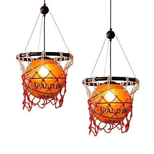 Ganeep Baloncesto Retro Americano Luces Colgantes Personalidad Creativa Restaurante Bar Colgante Luces de Techo Estadio Deportes Deportes Arte Luz E27 Fuente de Luz